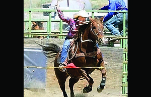 Columbia Basin Rodeo Club participants Joely Patnode competes in an event earlier this season. Patnode, and teammates Morgan Brumley and Bryce Harrison qualified for state in multiple events. State runs from June 8-11 in Prineville. 				                          Tonya Brumley/Contributed photos
