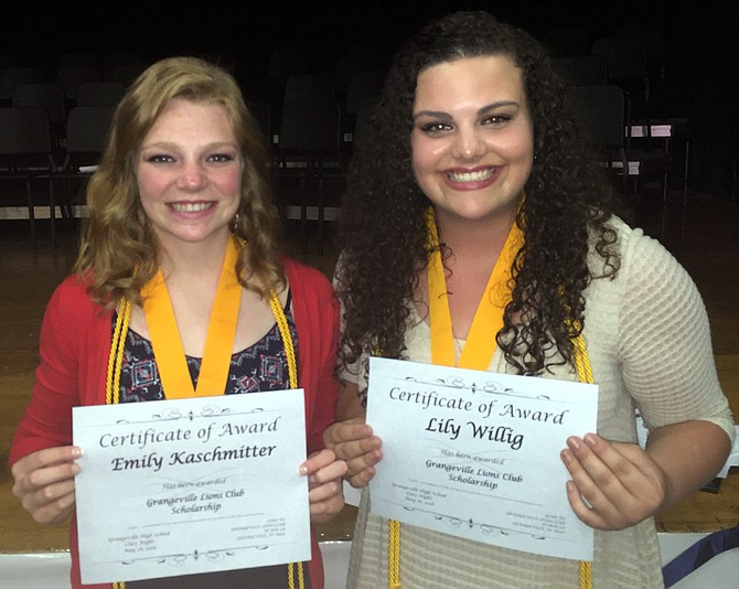 Emily Kaschmitter and Lily Willig received scholarships, $2,000 each, from the Grangeville Lions Club last Thursday night. The scholarships further each GHS grad's plans: Kaschmitter will attend UI to study biological engineering and chemistry and Willig will attend Carroll College to study biology, English and literature. For the Grangeville Lions Club, 2016 marks the first year the club has offered $2,000 scholarships. The club was able to boost its offering in light of the continuing success of its annual Christmas tree sale and other fund-raisers.