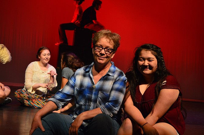 Rachel Harry, left, will have her name in Sunday's Tony Awards' playbill, thanks to the effort of past and present students, parents and community members. With her is senior Claire Hamada, a four-year theater student and techie who helped spearhead the process to secure Harry's nomination.