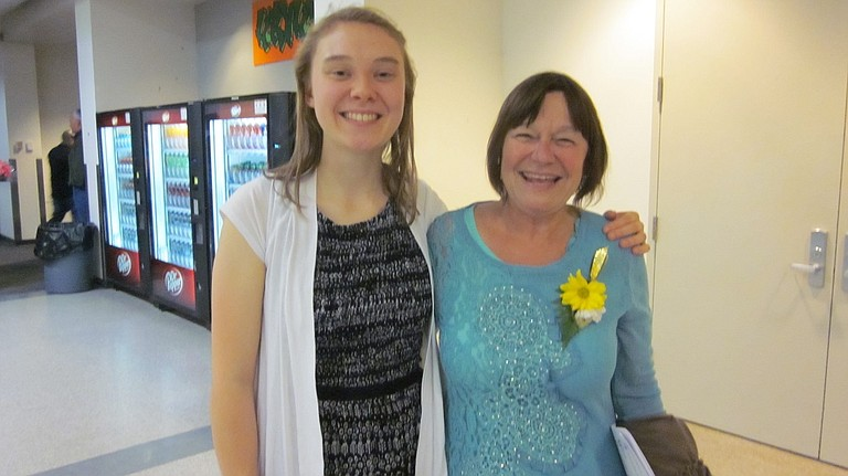 RECIPIENT Charley Boonstra with Susan Gabay of Columbia River Fellowship for Peace, mother of Susanna Blake Gabay.