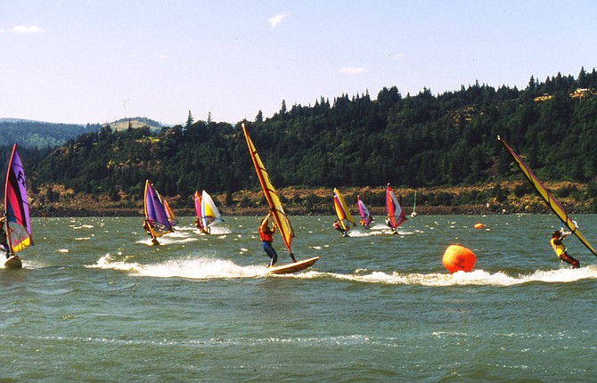 NEON SAILS: Scenes from the 1984 Pro-Am, including the start from the beach at the Hood River marina.