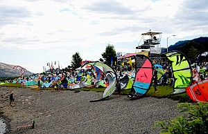 'Kites on the beach:' Kites and kiters are prepped at the Event Site. Kiteboarders will tear across the Columbia River at the start of the endurance race portion of Kiteboarding 4 Cancer.