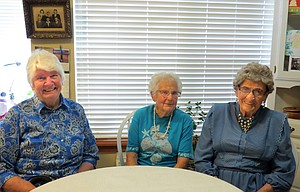 Gertrude Buether, left, Eilene Eslinger and Mary Fields celebrate birthdays Thursday and are looking forward to a party in their honor Sunday that will also be attended by five Sherman County residents who marked another year of life this week. Fields and Eslinger turn 95 and Buether 79.