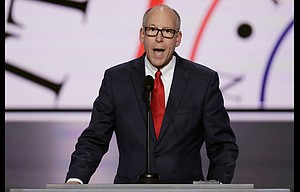 Rep. Greg Walden, R-Ore., addresses the opening day of the Republican National Convention in Cleveland July 18.