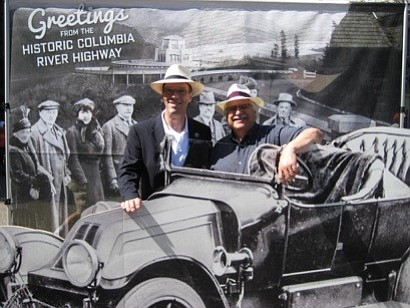 Today's Gorge visitors can be photographed amongst yesterday's Historic Highway tourists, thanks to a display at The History Museum of Hood River County.