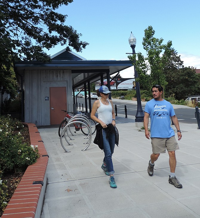 BICYCLE HUBS are in place in Mosier, Cascade Locks and, above, at State and Third streets in Hood River, to encourage bicycle travel through the Gorge.
