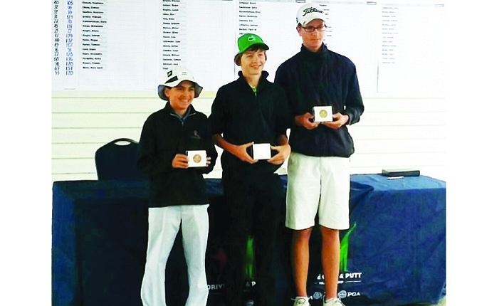 The Dalles High School golfer Tyler Vassar, far right, stood alone atop of the standings at the Drive, Chip and Putt sub-Regional event held on Aug. 9 at Meriwether National Golf Club in Hillsboro. Vassar scored 65 points in the putting event and ended up with 151 points, besting his next competitor by 12 points.                            Contributed photo