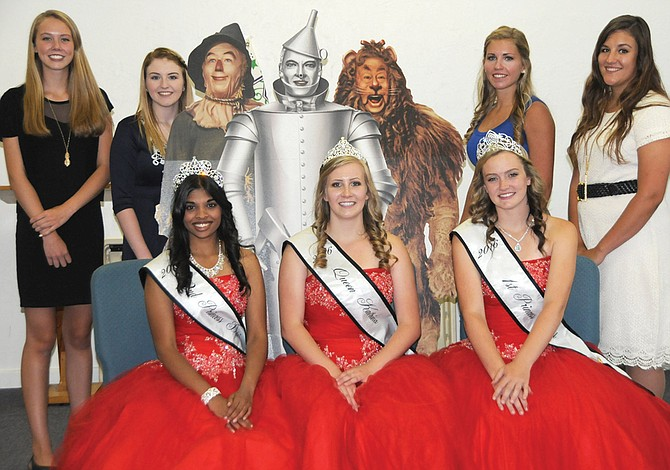 Pictured are (back, L-R) Idaho County Fair candidates Kally Arnzen, Tiffany Sonnen, Wizard of Oz friends, Chaye Uptmor and Selena Davila and (front, L-R) 2nd princess Davi Murphy, queen Katrina Frei and 1st princess Rachel Kelley. The girls were all at the Idaho County Fair Royalty Luncheon Aug. 9.