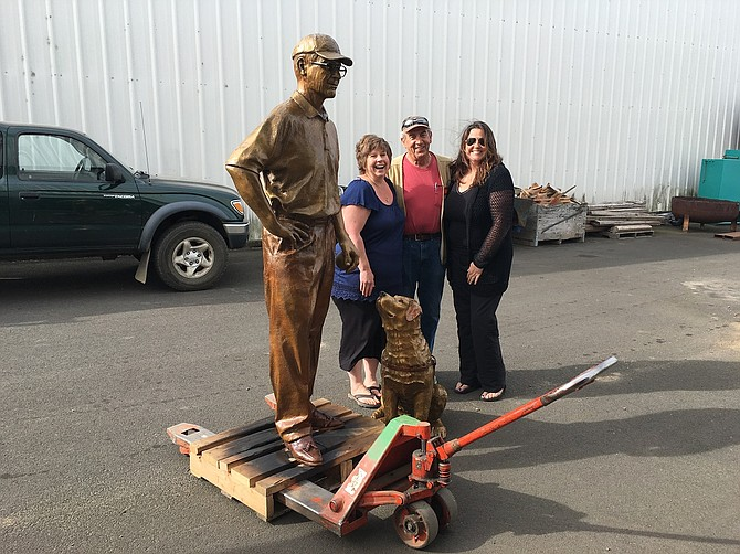 KEN JERNSTEDT and Driscoll, with Heather Soderberg-Greene, left, Felix Tomlinson, and Annie Nippolt, last week when the sculpture was trucked to WAAAM from the foundry in Cascade Locks.
