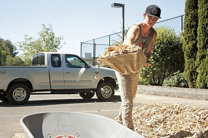 Perry Todahl loads bark into a wheelbarrow to spread around the Dallas Skate Park on Sept. 24.