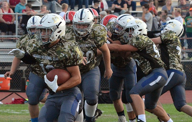 Grangeville's Luke Stokes set the high marks for both rushing and tackling on the first night of the new season last Friday, Aug. 26, at Moscow. He carried 14 times for 132 yards behind the Bulldogs' stout line, and made 10 tackles on the defensive side.