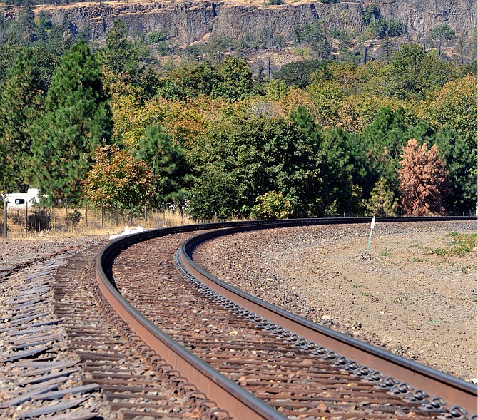 TRACKS near Mosier, seen above, could get an expansion. Union Pacific Railroad's proposed project would increase the amount of trains moving through the Gorge each day.