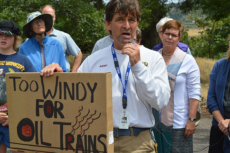 MOSIER Fire Chief Jim Appleton gives an impassioned protest against oil train traffic at a June 10 rally at the oil crash site in Mosier, and he repeated his opposition this week in The Dalles.