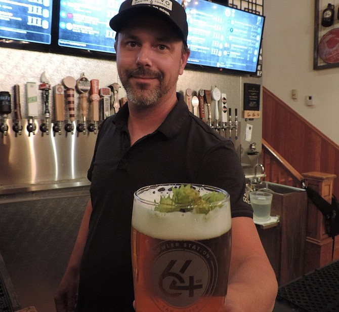 64 Oz taproom will be closed Saturday so Rod Steward and the rest of the crew can enjoy Hops Fest, but the taproom has been celebrating hops all week by garnishing IPAs with some cones of lupulus.