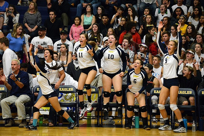 HRV'S BENCH EXPLODES following a victory in the first set of Thursday's home match against The Dalles, which the Eagles won 3-0.
