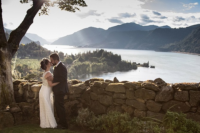 Crispin Young and Chase Wilson on their wedding day, at Griffin House overlook.
