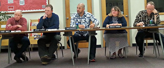 The Mountain View School District board of trustees listens to reports from staff, administrators and audience members at the Sept. 19 meeting in Kooskia. Pictured (L-R) are Casey Smith, Jeremy Harris, Mike Dominguez (chair), Rebecca Warden and Lot Smith (vice chair).