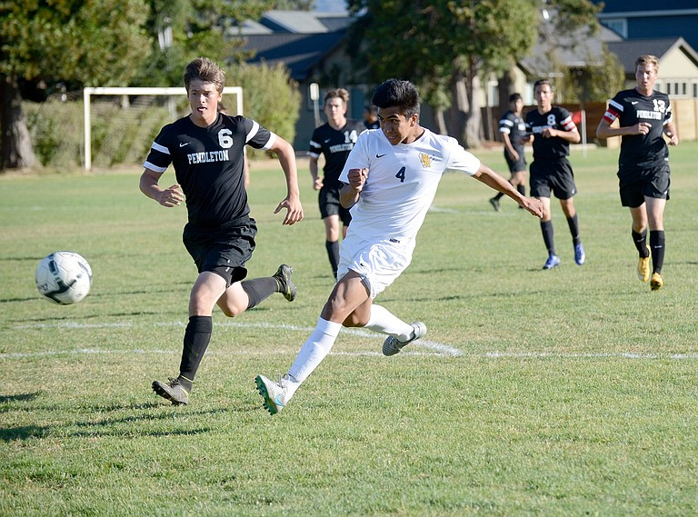 PENDLETON didn't provide much competition for HRV Tuesday, with Eagles blanking the Bucks 8-0. Above, Ramon Evangelista takes a shot on goal.