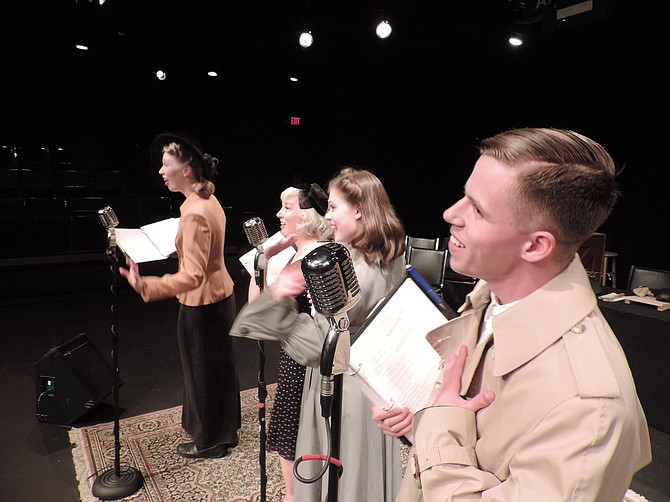 """THE COLUMBIAIRES quartet sings radio advertisements during breaks in the radio KZAS plays """"The Maltese Falcon"""" and """"Casablanca."""" From right are Brennan Rogers, Emelie Pennington-Davis, Rosemary Shephardson, and Dana Tickner."""
