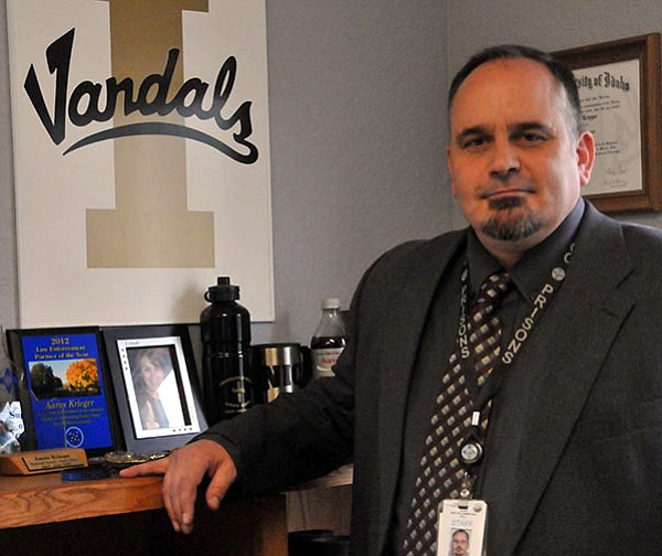 Aaron Krieger is photographed in his office following a tour of the North Idaho Correctional Institute, Cottonwood. Krieger was promoted to warden of NICI in June of this year.