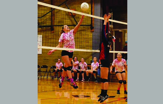 Dufur Ranger freshman Kalie Ellis rifles home one of her two kills in Tuesday's Big Sky Conference match against Mitchell-Spray. The Lady Rangers totaled 29 kills and just 12 errors in a three-game sweep.                          Dave Beeson/Contributed photo