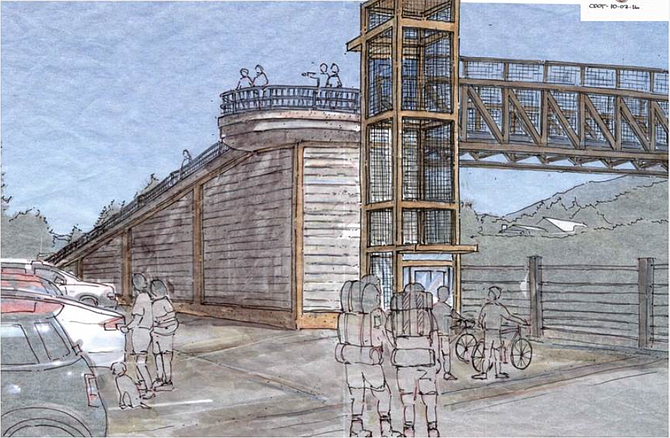 OVERCROSSING RENDERING gives a peek at an elevated bridge that would connect downtown Cascade Locks to the Port of Cascade Locks' Marine Park.