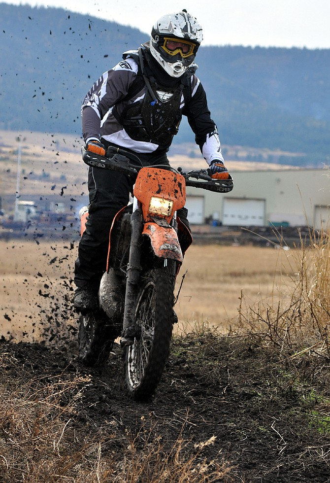 Motorcycles were put through their paces at last Saturday's Oct. 22 Fall Enduro Halloween Classic at the Grangeville Off-Road Park east of Idaho Forest Group off Old Highway 7. The motorcycle-only multi-class event is a family-oriented race day that is mostly non-competitive. The course length is about 0.5 miles for kids and two miles for adults. The general format is as many laps as possible in the time allotted.