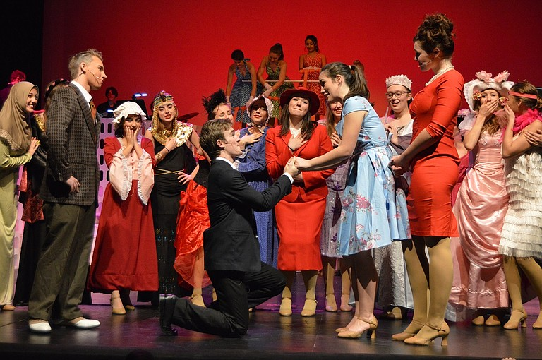 "Frank Jr. (Sean Gray) proposes to Brenda (JoJo Summersett) with her parents, Roger (Nathan Daniel) and Carol (Ann Marie Goodman) — and a whole cast of characters — watching in the fall HRVHS musical ""Catch Me If You Can."""