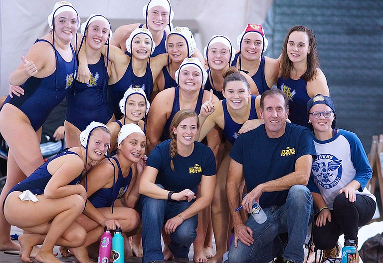HRV GIRLS WATER POLO players and staff pose for a group photo after winning the league title Wednesday.