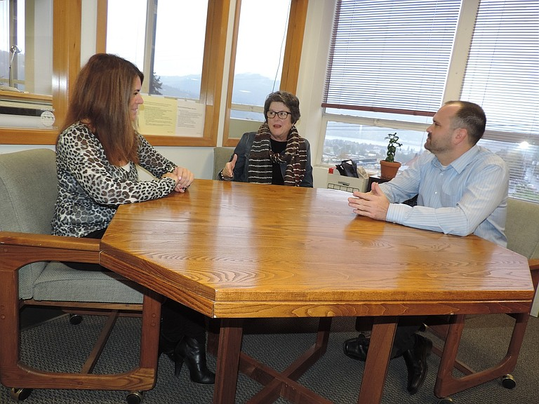 Secretary of State Jeanne Atkins, center, talks with Clerk Brian Beebe and Chief Deputy Clerk Kim Kean about ballot preparations last month, during Atkins' tour of every county's elections office.