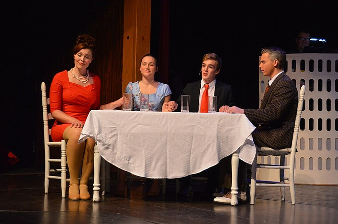 Above, Frank Jr. (Sean Gray) leads grace for fiancé Brenda (JoJo Summersette) and her parents Carol (Ann Marie Goodman, far left) and Roger (Nathan Daniel, far right), with hilarious results.