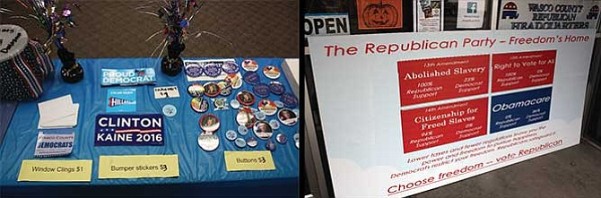 Buttons and stickers, above left, adorn a table at the local Democratic Party headquarters downtown, while a placard outside the Republican campaign office, pictured at right, displays reasons to vote for Republican candidates.
