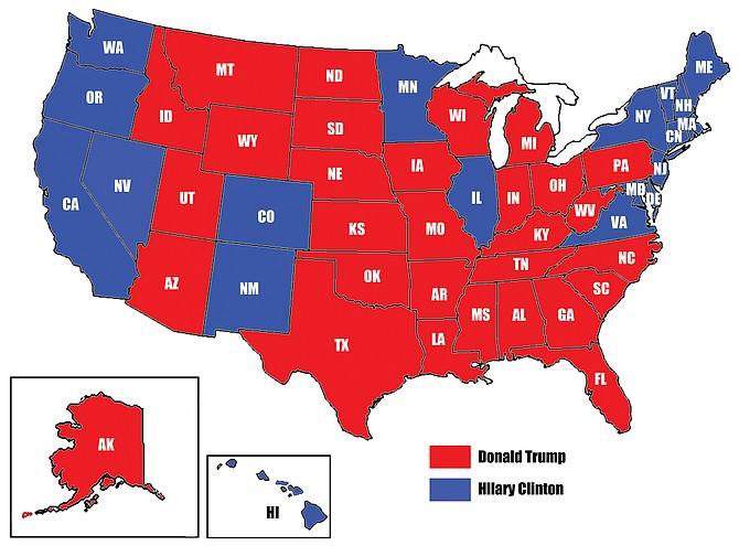 The map shows a projected sea of red states going to Donald Trump and fewer blue states breaking for Hillary Clinton.