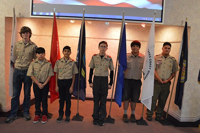 Members of Boy Scout Troop 282 and 378, and Pack 282 and 392, posted the colors for all branches of the military; pictured above are Bryce Stanton, 14, with the Army flag, Xavier Castillo, 11, Marines, Phili Castillo, 12, Navy, Nicholas Arenas, 13, Air Force, John Erickson, 14, Coast Guard, and David Virgen, 14, Merchant Marines.