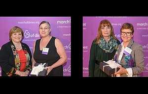 In photo above left, Patty Maguire, president of Cambia Health Foundatio,n presents top nursing award to Kathy Kahler. Above right, Shari Davis, critical care director at Randall Children's Hospital, awards Lynne Allen.