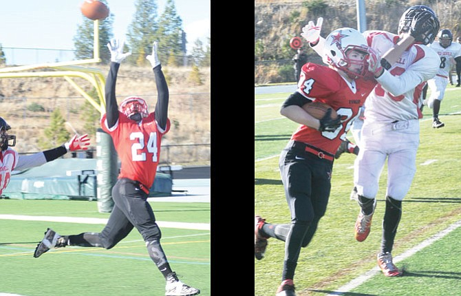 Dufur Ranger football players, pictured from left to right, Kolbe Bales and Tabor McLaughlin, helped the offense put up 480 yards on 27 plays in a 76-18 state semifinal victory over Lowell Saturday in Bend. Dufur plays in the title game at noon Saturday in Hermiston against Crane.