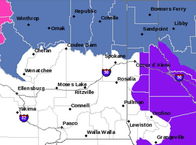 According to meteorologists, several rounds of snow are expected for the next few days throughout the mountains, and valley floors may see their first snowfall of the season. Winter storm watch areas are shaded in blue.