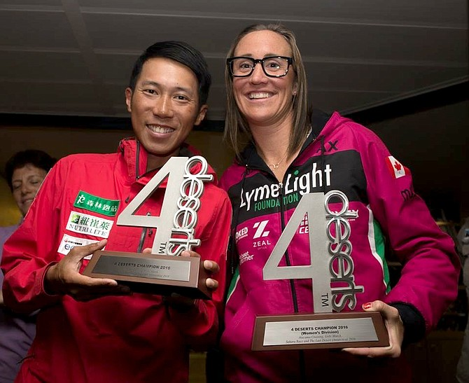 JAX MARIASH KOUDELE (right) poses with her trophy after winning the last 4 Deserts ultramarathon race in Antarctica. She is next to the winner of the men's category, Tommy Chen. Below, Koudele is seen running across the frozen Antarctica landscape. The race took place in several locations around the continent, with athletes spending nights on a ship.