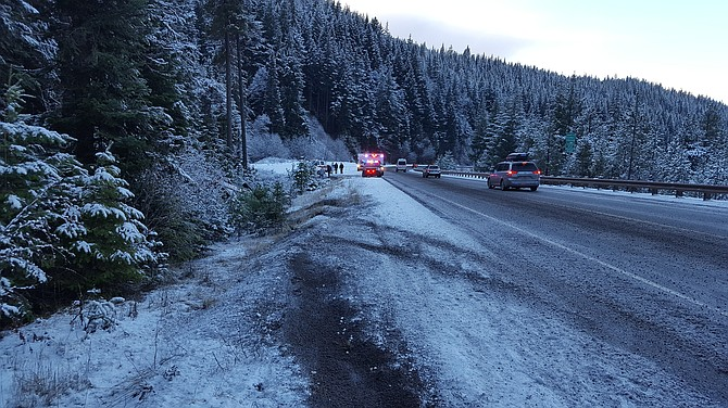 ICY SCENE on Highway 35, south of Parkdale, where a Hood River man who works for ODOT was injured Sunday afternoon.