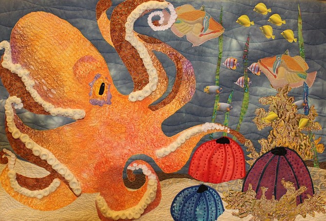 Find colorful quilted artworks — like this octopus — by Gorge fiber artists Beyond the Block at the White Salmon Valley Community Library beginning in January. The exhibit is available for viewing during regular library hours.