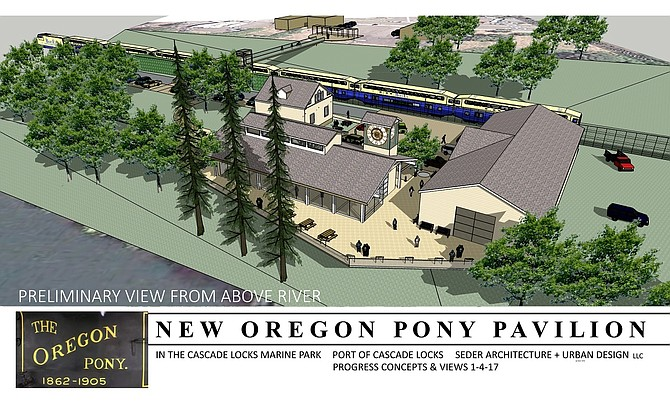 DESIGNS SHOW concepts for an Oregon Pony steam engine display building and an expanded Cascade Locks History Museum.