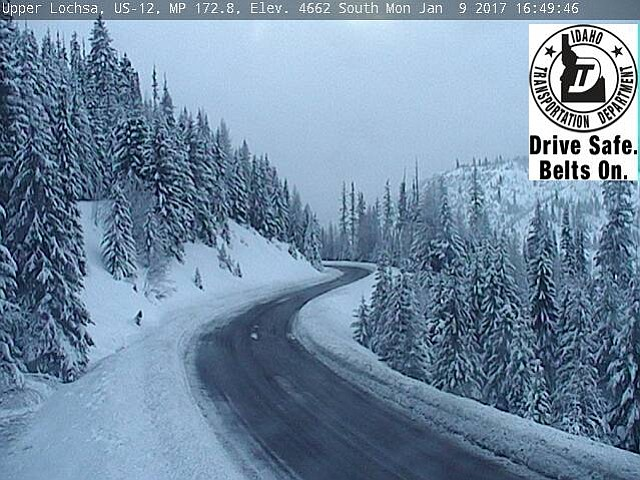 Idaho Transportation Department road cam view on U.S. Highway 12, looking south, at milepost 172.8, as of the afternoon of Jan. 9. View ITD road cams online at http://511.idaho.gov/