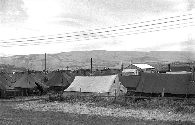 """Terray Harmon and Jerry Phillips contributed to this report. Last week's History Mystery, above, was scanned from a 4- by 5-inch black-and-white negative from the archives of The Dalles Chronicle. The photograph was part of an extensive collection labeled:""""Chamber of Commerce, public buildings and orchards."""" The individual envelope containg this photograph identifies the subject as """"Cherries, June 1949 season."""" The photograph appears to show a camp for migrant workers set up in the area of Kramer Field in The Dalles, which was at that time the county rodeo grounds, said Teray Harmon. Additional images show camps elsewhere in The Dalles area, although exact locations are not noted. Workers are shown in both the orchards and at the Cherry Growers. Jerry Phillips noted the tents and camp setup resembles that of a temporary US Army encampment at Rufus in about 1943."""