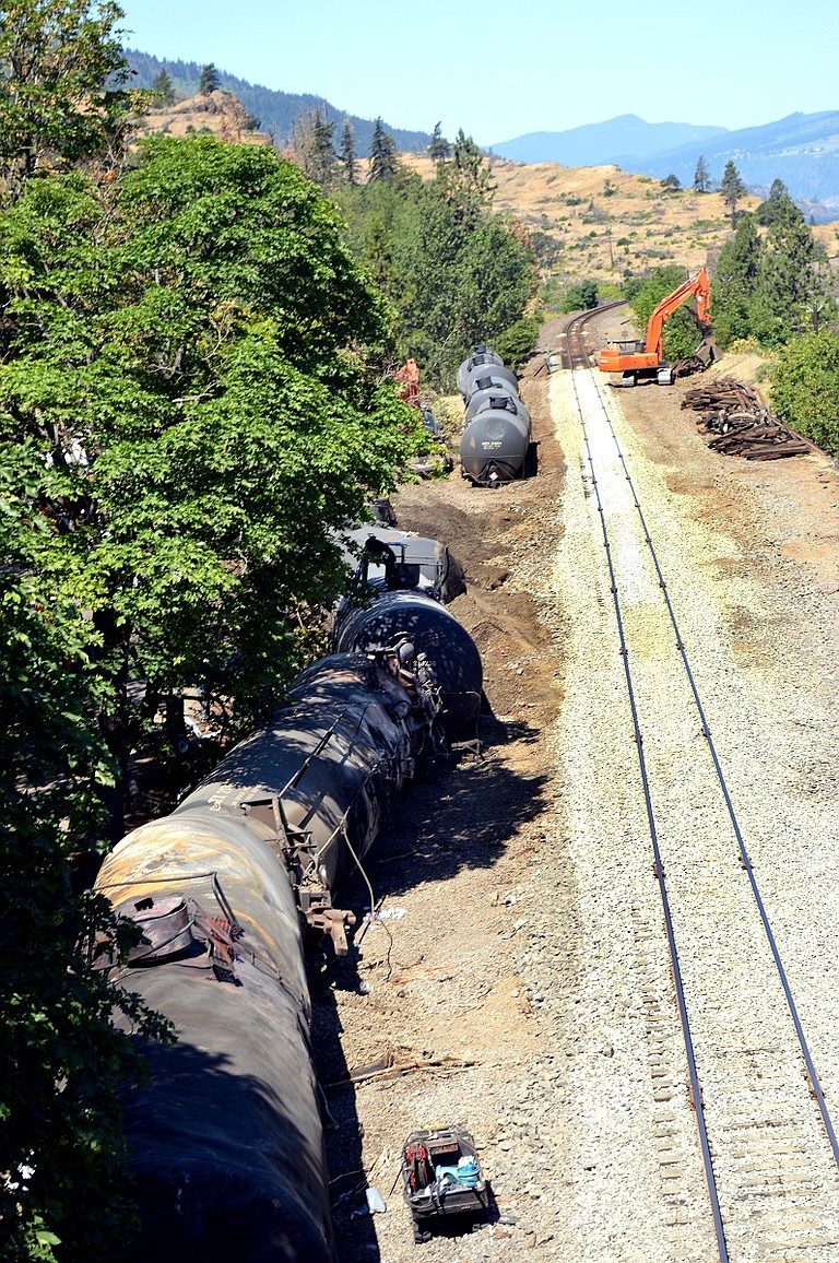 CRUSHED TANKERS in Mosier where an oil train derailed last June. Lawmakers are again considering a crude-by-rail safety bill.