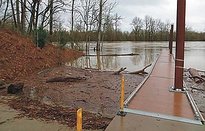 Flood debris at the Keizer Rapids boat launch. The Oregon Marine Board incourages boaters to use caution in the coming weeks as flooding impacts area rivers.