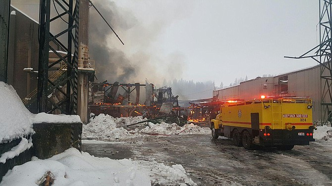 Fire crews are still on scene of a structure fire at Blue North Forest Products mill in Kamiah.