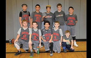 Columbia Gorge Basketball Academy sixth-graders posted a 5-0 record during the Gorge Hoops Invitational held in The Dalles, wrapping up first place with a 40-17 win over White Salmon. The players are, pictured from left to right, starting on top, Jack Morgan, Manatu Crichton-Tunai, Styles DeLeon, Riley Brock and Osbaldo Lopez. On the bottom are, from left, Sam Rogers, Braden Van Sickle, Fernando Ayala, Tyler VonSlomski, and team helper Rylan DeLeon. Not pictured are coaches Phil Hukari and Ken Brock. The team will be in action again on Feb. 18-19 for The Dalles Winter Classic.