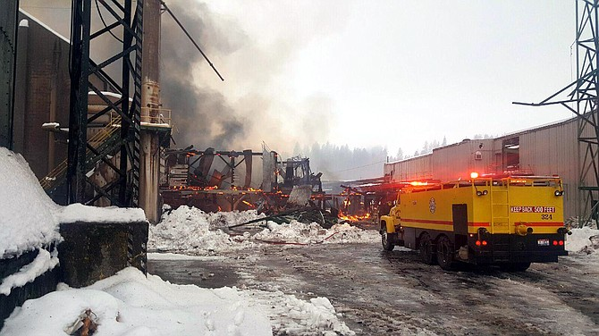Multiple firefighting agencies responded to last Thursday's structure fire at the former Blue North Mill site in Kamiah, Jan. 19. Cause is being attributed to demolition work that was under way at the building.