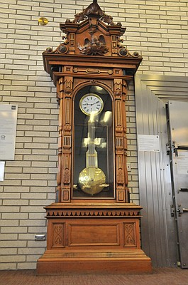 This grandfather clock built in 1810 stands resplendently in the lobby of the Grangeville Wells Fargo branch. It has survived both fire and flood.