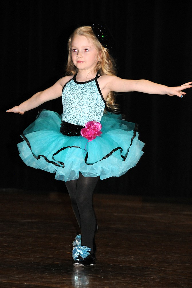 "Rylie Arnzen gets into tap dancing to ""Love is An Open Door,"" from Frozen. She and about 20 other students participated in Shirley's Dance Studio Grangeville recital held at Grangeville High School Saturday, Jan. 28. Shirley's is celebrating 60 years in business this year. Call 509-758-6510 for Grangeville lesson information."